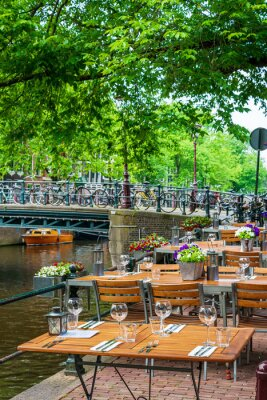 Amsterdam, Netherlands - May 23, 2018: restaurant in Amsterdam, Netherlands