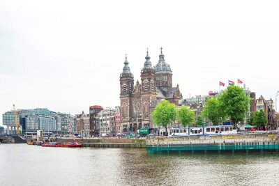 Amsterdam, Netherlands - May 23, 2018 : Street view of downtown in Amsterdam, Netherlands