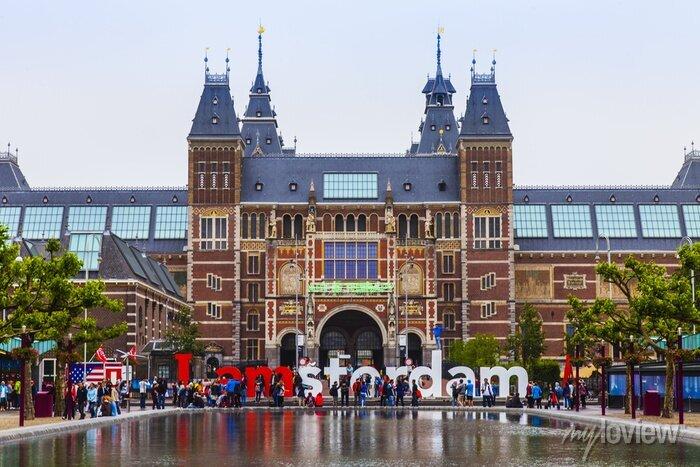 Poster Amsterdam, Niederlande. Der Platz vor der Staatsmuseum