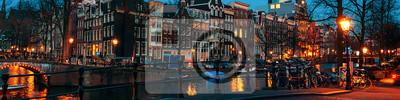 Poster Amsterdam, Niederlande Kanäle und Brücken