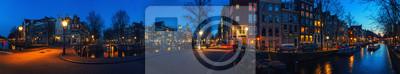 Amsterdam, Niederlande Kanäle und Brücken in der Nacht