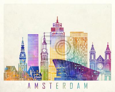 Amsterdam Sehenswürdigkeiten Aquarell Poster