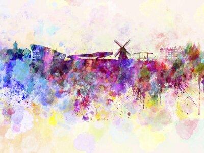 Poster Amsterdam Skyline in Aquarell-Hintergrund