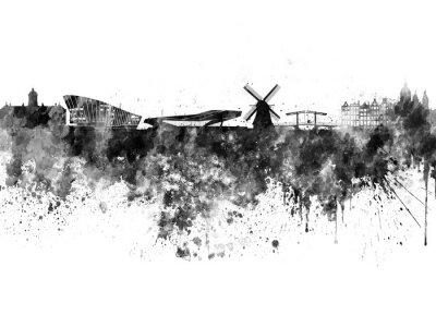 Poster Amsterdam Skyline in schwarz Aquarell