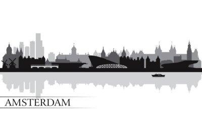 Poster Amsterdam Skyline Silhouette Hintergrund