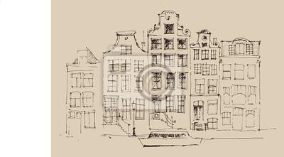 Amsterdam, Stadt der Architektur, Jahrgang eingraviert Illustration