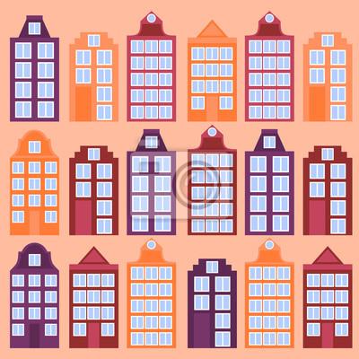 Amsterdam Stadt flach Linie Kunst. Reise-Wahrzeichen, Architektur der Niederlande, Holland Häuser, europäisches Gebäude isoliert gesetzt