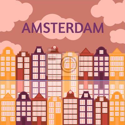 Amsterdam Stadt flach Linie Kunst. Reise-Wahrzeichen, Architektur der Niederlande, Holland Häuser, europäisches Gebäude isoliert gesetzt,