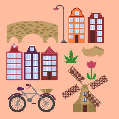 Amsterdam Stadt flach Linie Kunst. Reise-Wahrzeichen, Architektur der Niederlande, Holland Häuser, europäisches Gebäude isoliert gesetzt, Windmühle, Brücke, Fahrrad, Schuhe und Lampe