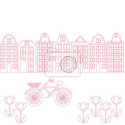 Amsterdam Stadt flach Linie Kunst. Reise-Wahrzeichen, Architektur der Niederlande, Holland Häuser, europäisches Gebäude isoliert Set, Fahrrad und Blumen