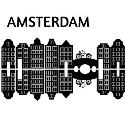 Amsterdam Stadt flache Kunst. Reise-Wahrzeichen, Architektur der Niederlande, Holland Häuser, europäisches Gebäude isoliert Brücke und Fahrrad