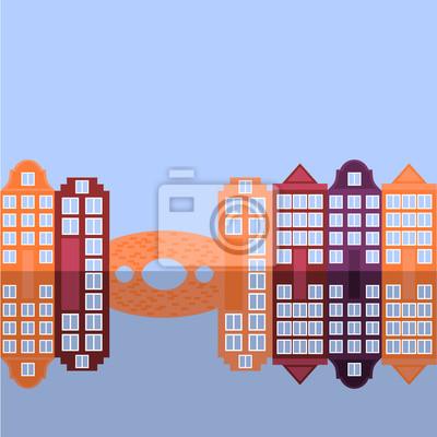Amsterdam Stadt flache Kunst. Reise-Wahrzeichen, Architektur der Niederlande, Holland Häuser, europäisches Gebäude isoliert Brücke und Fluss