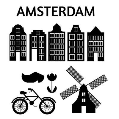 Amsterdam Stadt flache Kunst. Reise-Wahrzeichen, Architektur der Niederlande, Holland Häuser, europäisches Gebäude isoliert gesetzt, Windmühle, Brücke, Fahrrad, Schuhe und Lampe.