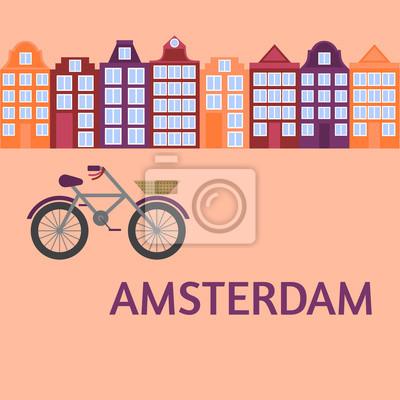 Amsterdam Stadt flache Kunst. Reise-Wahrzeichen, Architektur der Niederlande, Holland Häuser, europäisches Gebäude isoliert Satz, Fahrrad