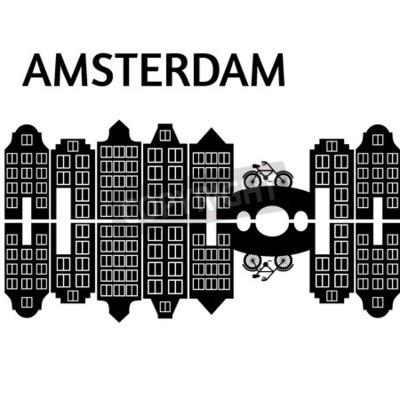 Amsterdam Stadt flache Kunst. Reisen Sie Markstein, Architektur von den Niederlanden, Holland-Häuser, europäisches Gebäude lokalisierte Brücke und Fahrrad,