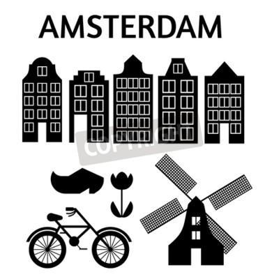 Amsterdam Stadt flache Kunst. Reisen Sie Markstein, Architektur von den Niederlanden, Holland-Häuser, lokalisierter Satz des europäischen Gebäudes, Windmühle, Brücke, Fahrrad, Schuhe und Lampe