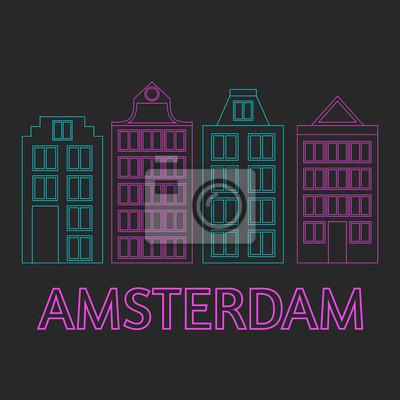 Amsterdam Stadt flache Linie Kunst. Reise-Wahrzeichen, Architektur der Niederlande, Holland Häuser, europäisches Gebäude isoliert gesetzt, Nachtleben Neonlicht