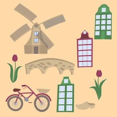 Amsterdam Stadt flache Linie Kunst. Reise-Wahrzeichen, Architektur der Niederlande, Holland Häuser, europäisches Gebäude isoliert Satz,