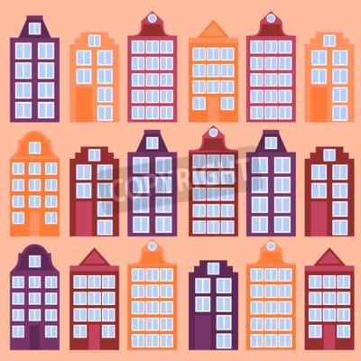 Amsterdam Stadt flache Linie Kunst.  Reise-Wahrzeichen, Architektur der Niederlande, holländische Häuser, isoliertes Set des europäischen Gebäudes,