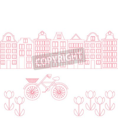 Amsterdam Stadt flache Linie Kunst. Reisemarkstein, Architektur von Niederlande, Holland-Häuser, lokalisierter Satz des Europäers Gebäude, Fahrrad und Blumen.