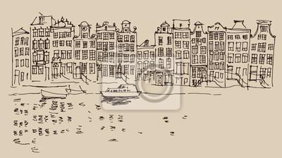 Amsterdam, Stadtarchitektur, Jahrgang gravierte Darstellung