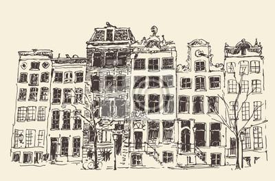 Amsterdam Stadtarchitektur, Vektor-Illustration