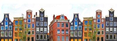Poster Amsterdam. traditionellen Häusern Grenze