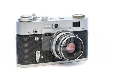 Analoge sowjetische kamera fed lokalisiert auf weißem hintergrund