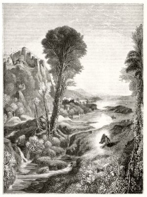 Poster Ancient grayscale etching style illustration of a majestic natural landscape at sunset with a river leading to the sun. By Marvy after Turner publ. on Magasin Pittoresque Paris 1848