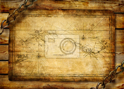 ancient map over wooden background