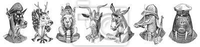 Poster Animal characters set. Smoking Goat Llama skier Deer lady Walrus Crocodile Dog Donkey Alpaca. Hand drawn portrait. Engraved monochrome sketch for card, label or tattoo. Hipster Anthropomorphism.