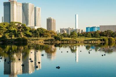 Poster Ansicht des tokyo Stadtbildes mit Park