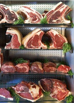 Poster Anzeige Der Trockenen Gealterten Fleisch Im Metzgereienladen