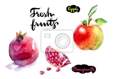 Poster Apfel Granatapfel Aquarell
