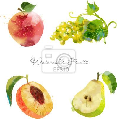 Apfel, Traube, Pfirsich, Birne