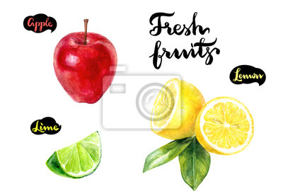Poster Apfel Zitrone Kalk Aquarell
