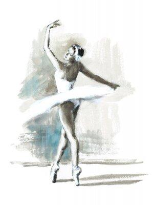 Poster Aquarell-Ballerina-handgemalte Ballett-Tänzer-Illustration