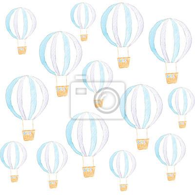 Aquarell Blaue Luftballons nahtlose Muster