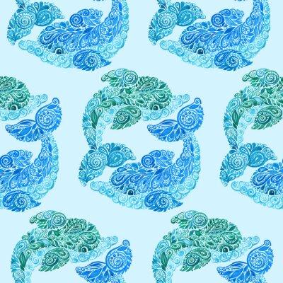 Poster Aquarell-Delphin-Gekritzel Mehndi ethnische Illustration