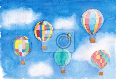 Aquarell Fliegen Ballons auf Himmel Kunst