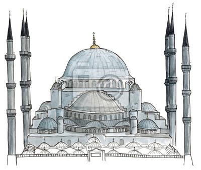 Aquarell Hand gezeichneten Architektur Skizze der Türkei Istanbul Blaue Moschee (Sultanahmet-Moschee) isoliert auf weiß Image ID: 346417964