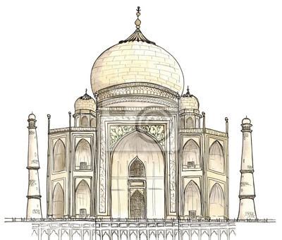 Aquarell Hand gezeichneten Architektur Skizze von Agra, Indien Taj Mahal isoliert auf weiß