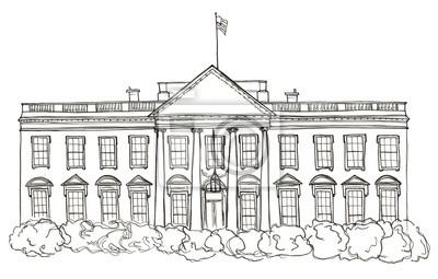 Aquarell handgezeichnete Skizze des Weißen Hauses, USA, Washington