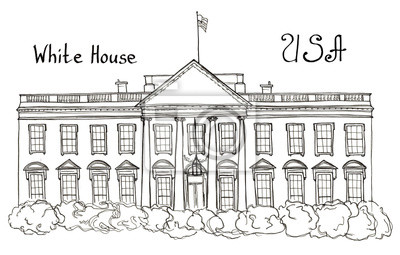 Aquarell handgezeichnete Skizze des Weißen Hauses, USA, Washington mit Schriftzug