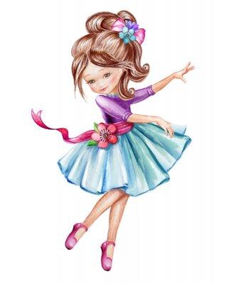 Poster Aquarell Illustration, niedliche kleine Ballerina, junge Mädchen im blauen Kleid, Tanzen Kind, Puppe, Clip Art isoliert auf weißem Hintergrund