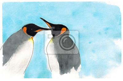 Aquarell Kaiser-Pinguine auf blauem Hintergrund Kunst