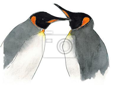 Aquarell Kaiser-Pinguine isoliert