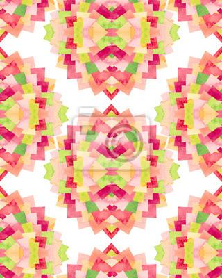 poster aquarell nahtlose mosaik muster mit grnen und roten quadraten - Mosaik Muster