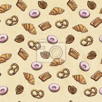 Aquarell Nahtlose Muster Hintergrund Skizze der Bäckerei Produkte - Croissant, Puff, Donut, Brötchen, Brezel Design-Element für für Textilien, Werbung, Broschüren, Menü