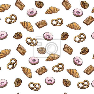 Aquarell Nahtlose Muster Hintergrund Skizze der Bäckerei Produkte - Croissant, Puff, Donut, Brötchen, Brezel Design-Element für für Textilien, Werbung, Broschüren, Menü auf weiß